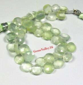 Natural Prehnite Gemstone Prehnite Faceted Heart Shape Beads 6X7 mm to 8X9 mm Size Approx Beads 9 inch Strand SA No. 492