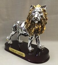 Lion of Judah statue Gold & Silver Metalic Wood Base Jewish Messianic Christian