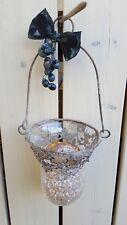 Rustikales Glas**Windlicht **Dekoglas mit Metallverzierung + Bügel**shabby**Neu