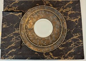 Set 8 Brown & Gold Marble print Placemats & Napkins New