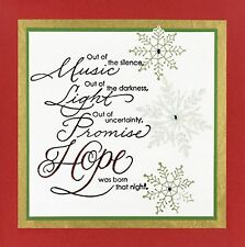 Hope Is Born Christmas Text, Wood Mounted Rubber Stamp PENNY BLACK - NEW, 3227K