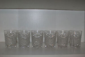 "6 LIBBEY NEW BRILLIANT CUT GLASS 3.75"" OLD FASHIONED TUMBLERS-SIGNED"