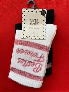 River Island 2x Pir Socks Besties Forever Multi