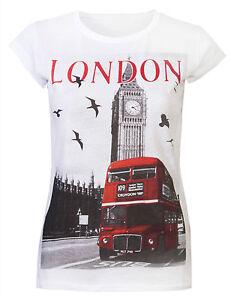 Womens T Shirts Tops Ladies London Souvenirs Big Ben Bus Super Quality White