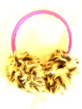 Girls soft fluff fun fur leopard print pink Ear Protector Muffs Festival 3-7 yrs