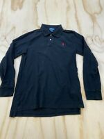 POLO RALPH LAUREN YOUTH SIZE XL 18-20 BLACK COLLARED LONG SLEEVE RUGBY SHIRT EUC