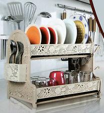 Plastic Dish Drainer Two Drip Trays 2 Layer Utensil Cutlery Draining Rack CREAM