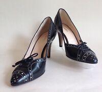 "HOBBS Black Leather Brogue Pattern Almond Toe 3.5"" Heel Court Shoe UK 3 EU 36"