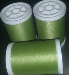 Coats & Clark XP Polyester Sewing Thread 3 spools 250 yd each LT OLIVE GREEN