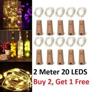 Bottle Fairy String Lights Battery Cork Shaped Christmas Wedding Party 20LED 2 M
