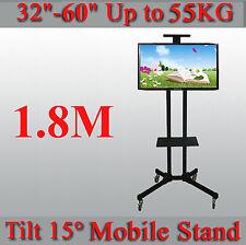 """Adjustable -15~15° Tilt Mobile TV Stand Trolley 32-60"""" LED/Plasma/LCD TV"""