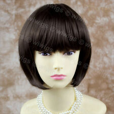 Silky Lovely Bob Skin Top Short Dark Coffee Brown Ladies Wig From WIWIGS UK