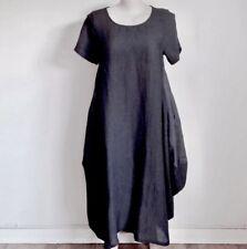 LAMB pure linen dress Quality designer draped garment Flared insert panels