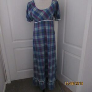Genuine 1970's Vintage Maxi Dress Checked Pattern By St Michael Made In Britain