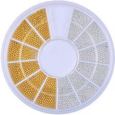 Nail Art Tip Decoration DIY Craft Mini Caviar Ball Beads 1mm Wheel Silver / Gold
