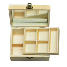 2 Layer Wooden Jewelry Box Wood Storage Case Jewellery Container With Mirror
