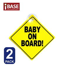 2x Baby on Board Safe Sign Safety Car Window Display Suction Stick Yellow