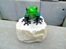 grenouille exotique en bronze pat couleurs sur pierre , bronze animalier ...