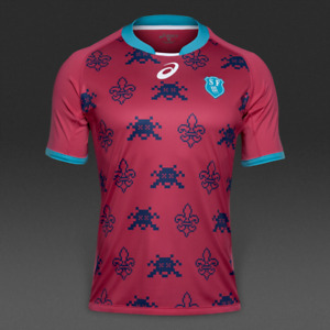 Stade Francais Mens Jersey Asics Fan Jersey Top14 Rugby - New