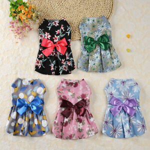 Summer Pet Dog Dress Clothes Small Floral Princess Skirt Puppy Cat Dresses York