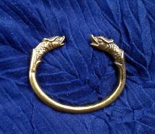 RW Armreif Neusilber goldenes Metall orientalisch Drache Drachenkopf Pakistan
