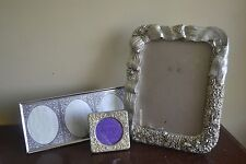 Lot of THREE SILVER TONE frames…shabby chic, cottage, unique, variety