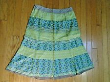 LADIES SIZE 6 - SIGRID OLSEN A FRAME LINED  SKIRT - GREENS, WHITES, BROWNS -USED
