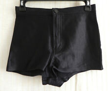American Apparel Micro Shorts Black Shinny High Waist Pockets Size M.Fits S