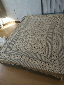 Hand Knitted Table Cloth / Bed Cover / Throw - 275cm x 170cm