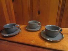 Set of 3 Dansk Mesa Blue Coffee Cup & Saucer Southwest Design Pottery Stoneware