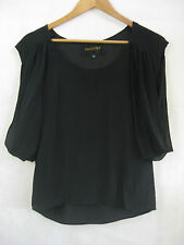 LUCETTE Size 0 Black 100% Silk Chiffon Blouse