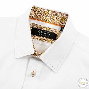 Coogi White Cotton Glossy Striped Flip French Cuff Spread Dress Shirt 16.5US