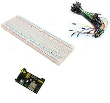 MB102 Power Supply Module 3.3V 5V+65PCS Jumper cables+Breadboard Board 830 Point