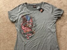 Harley Davidson Patriotic Eagle Gray Scoop Neck  Shirt NWT Women's XXL