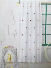 """New Pillowfort Colorful Tassel Appliques on White Blackout Curtain Panel 84"""""""