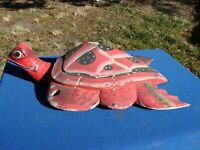 """VTG Mexico FOLK ART Carved Wood TURTLE Hanging Sculpture 16"""" Long"""