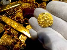 SPAIN 1598 DATED 2 ESCUDOS RAW PIRATE GOLD COINS TREASURE JEWELRY NECKLACE COB