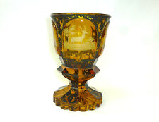 Großer Glaspokal mit Schwarzlotmalerei Haida um 1850 Hirsch Pokal Jagd