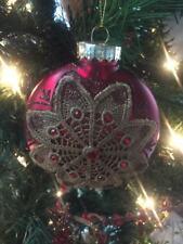"Gorgeous New Kurt Adler 4.25"" Vintage Cranberry Victorian Disc Ornament!"