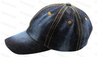 Mens Ladies Denim Baseball Cap Adjustable Strap Adults Curved Peak Sun Hat