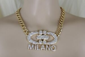 Sexy Women Gold Metal Chain Jewelry Fashion Necklace Bling Milano Italy Pendant