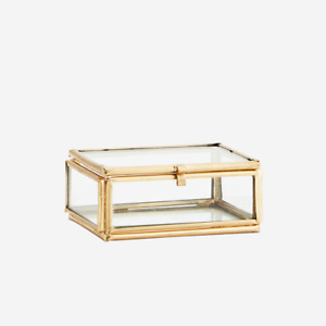 Small Rectangular Clear Glass Box, Gold Brass Display Trinket Jewellery 7.5cm