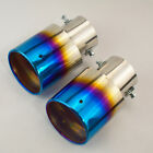 Pair Of Slant Burnt Titanium Car Stainless Steel Exhaust Tail Pipes Muffler Tips