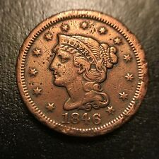 1846 Large Cent Extra Fine XF Details 1c Copper Type