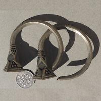 a pair of old silver ornate earings tuareg mali niger #63