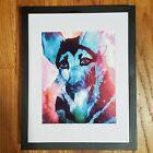 Ace German shepherd pop art 8.5x11 Unframed  Print Abstract blue dog artwork