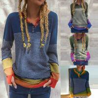 Damen Mode Langarm Knopf Herbst Bluse Shirts Freizeit Print Lose Pullover Tops