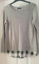 Ladies grey shirt jumper 2 in 1 black white check size 10 petite m&co