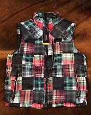 Polo Ralph Lauren Plaid Tartan Beacon Patchwork Bear Stadium Ski Vest (2XL) $245