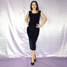 Stretchig Blue Velvet Evening Dress M Maxi Sheath Cocktail Polo